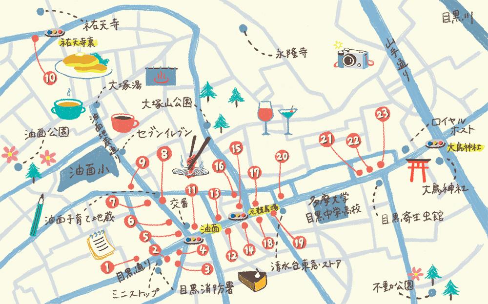 深目黒MAP イラスト