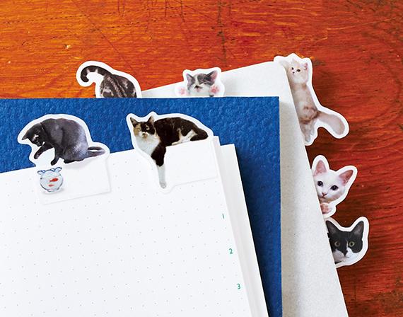 そこにいたの!? ノートで遊ぶ猫ふせん<パート2>が『フェリシモ猫部』から登場