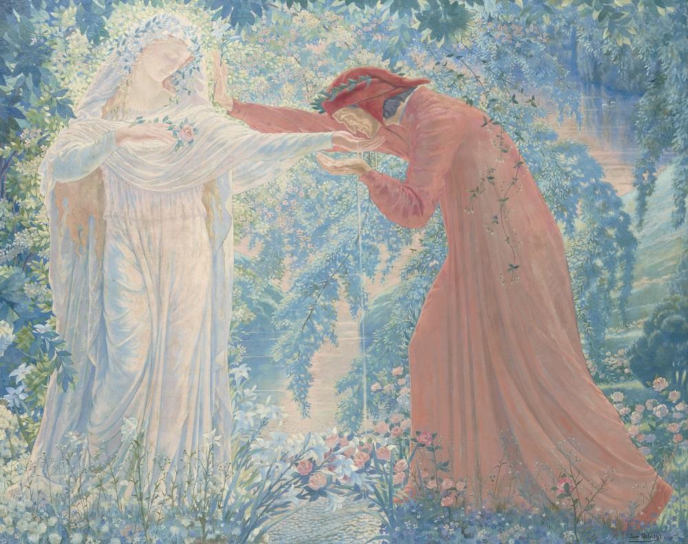 ジャン・デルヴィル 《レテ河の水を飲むダンテ》 1919年 油彩・キャンヴァス 姫路市立美術館