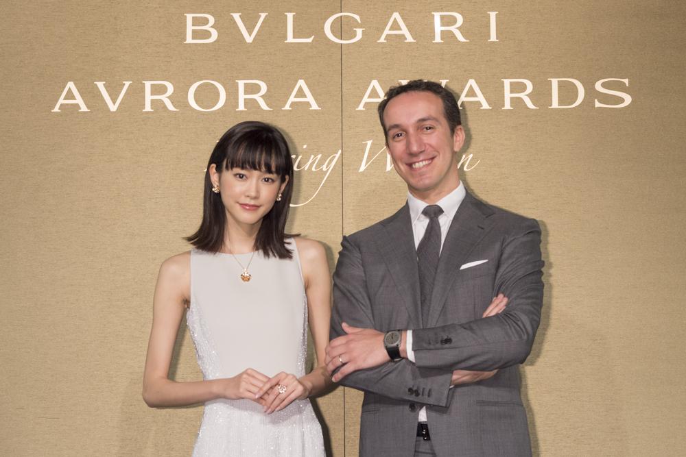 女優 桐谷美玲が、ブルガリ ジャパンの母の日を祝したトークショーに登場!