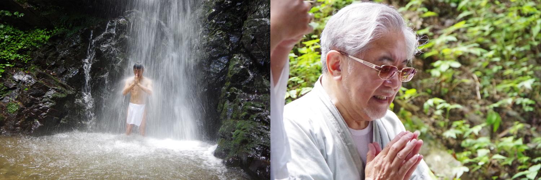 いざ、滝の中に入水!