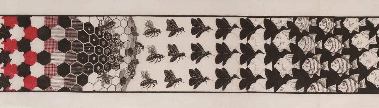 《メタモルフォーゼⅡ》(部分) 1939-40年 All M.C. Escher works copyright © The M.C. Escher Company B.V. - Baarn-Holland.  All rights reserved. www.mcescher.com