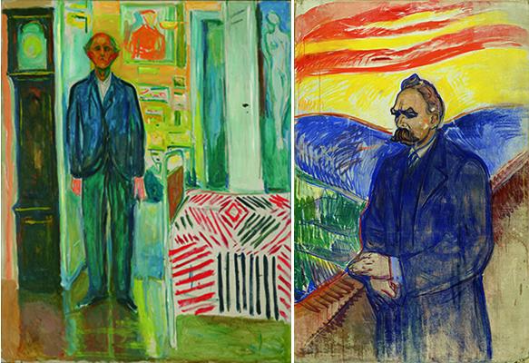 (右)エドヴァルド・ムンク《自画像、時計とベッドの間》1940-43年 油彩、カンヴァス (左)エドヴァルド・ムンク《フリードリヒ・ニーチェ》1906年 油彩・テンペラ、カンヴァス